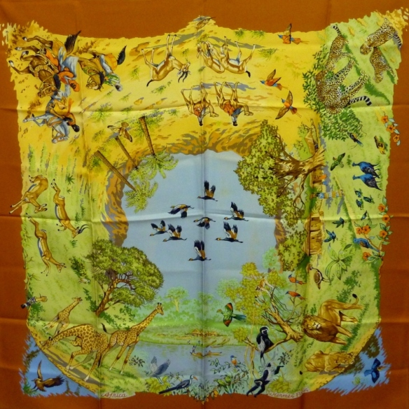 Foulard carré de soie Africa